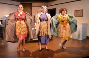 Melody Goodell as Karin, Kelsey as Vivian, and Nicole Horton as Mavis in Church Basement Ladies.