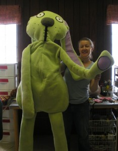 Props designer and puppet-making GENIUS Liz Spray poses with Knuffle Bunny himself.